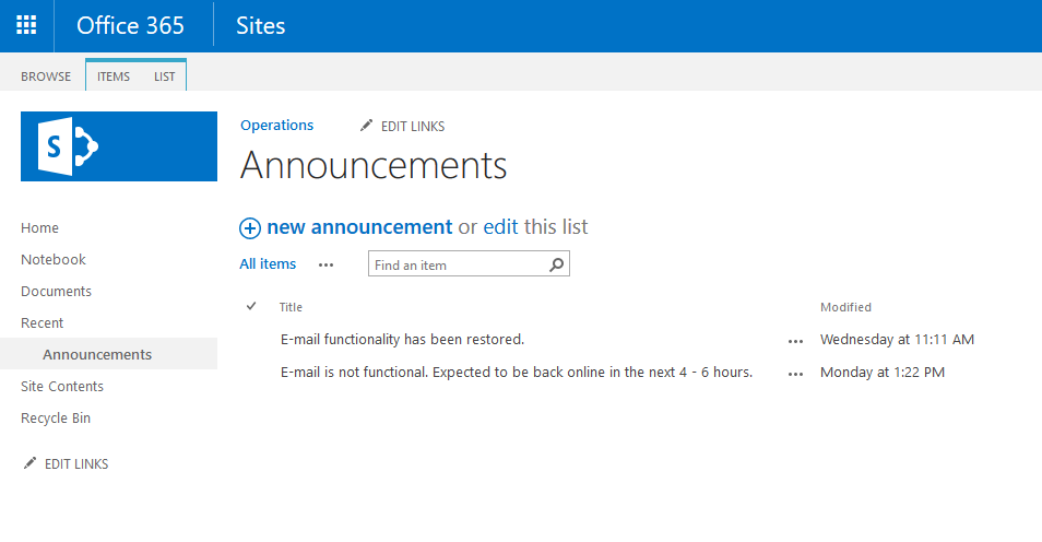 The Help Desk demo, Part 6–SharePoint Announcements